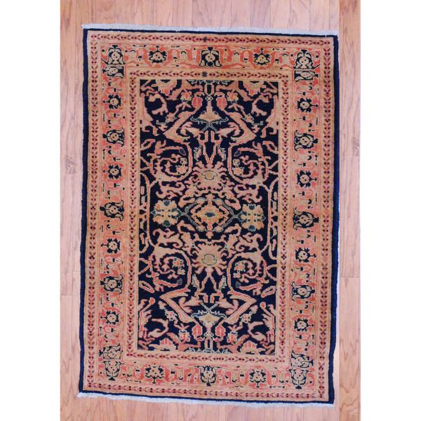 Afghan Hand Knotted Tribal Vegetable Dye Navy/ Peach Wool Rug (3u00274