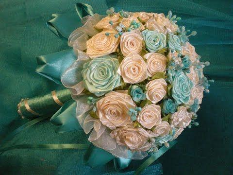 Красивый свадебный букет из лент своими руками. Видео МК. | БУКЕТЫ КОНФЕТНЫЕ,ПОДАРКИ ИЗ КОНФЕТ | Постила