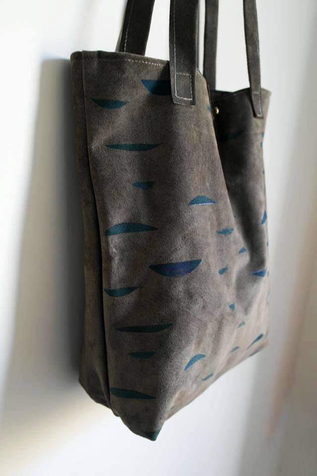 handprinted leather tote bag minimal pattern handmade leather bag shoulder bag everyday city bag art bag special gift saysomething lab design