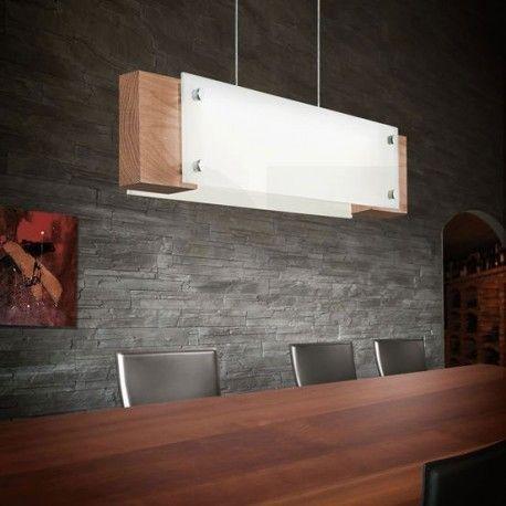Φωτιστικό κρεμαστό ράγα LED VILAR γυάλινο με ξύλο