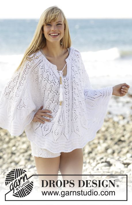 """Knitted DROPS poncho with lace pattern and vent at the front in """"Belle"""". Worked…"""