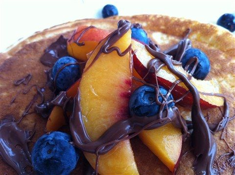 Peaches and Blueberry go great with Nutella. Especially on Pancakes!