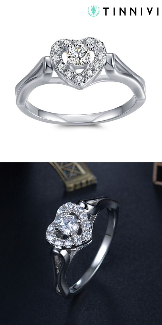 b02574a76c Shop ❤️Round Cut 1/10CT Gemstone Heart Framed Sterling Silver Engagement  Ring❤️online️, Tinnivi #Jewelry creates quality fine jewelry at gorgeous ...