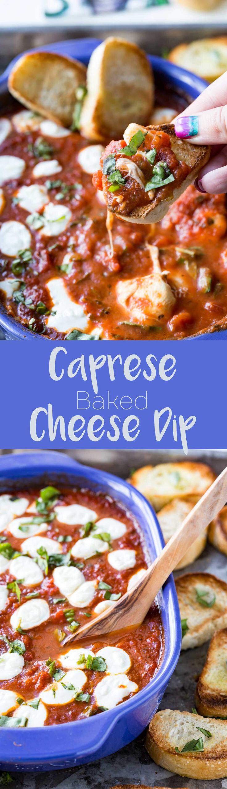 Caprese Baked Cheese Dip - Eazy Peazy Mealz