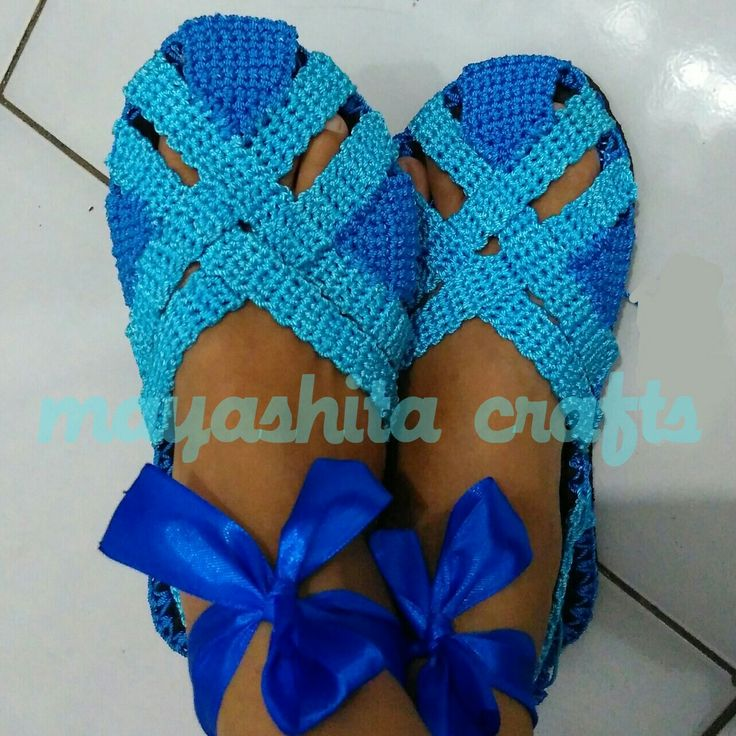 Crochet shoes from flip flop  Material polyester yarn  IDR 75K excl. shipping