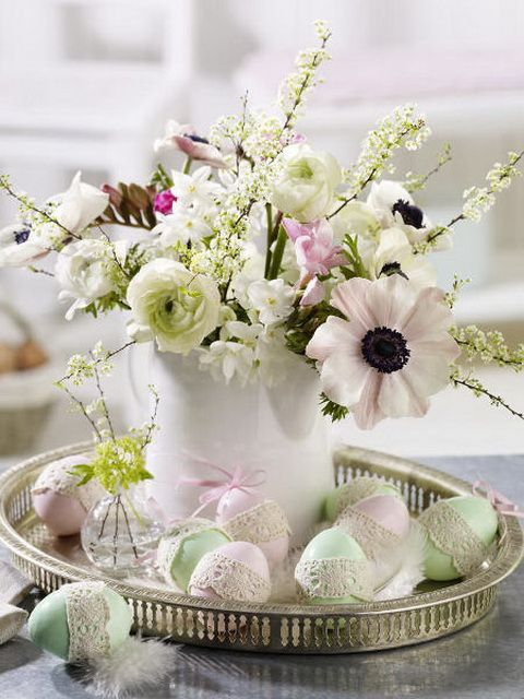 Easter Decoration, Never Thought Of This Before, Eggs Laying On A Dish Next To Some Beautiful Flowers.