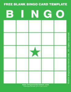 blank bingo card template word