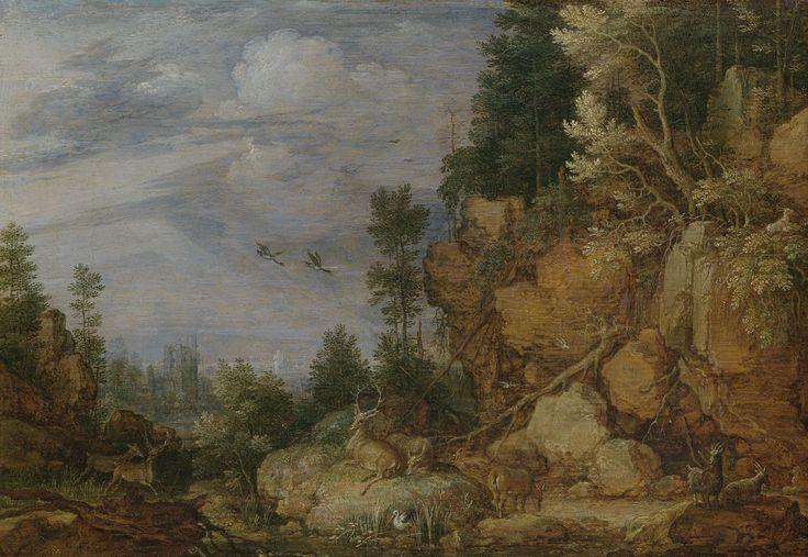 Gillis Claesz. de Hondecoeter | Rocky Landscape with Deer and Goats, Gillis Claesz. de Hondecoeter, 1620 | Rotsachtig landschap met herten en geiten. Op de voorgrond een beek, in de verte een ruïne. In de lucht vliegen twee ganzen.
