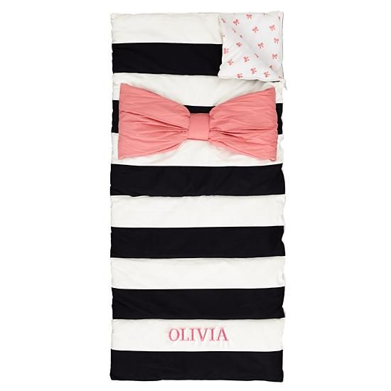 The perfect sleeping bag. Monogrammed, black and white stripe and a big pink bow.