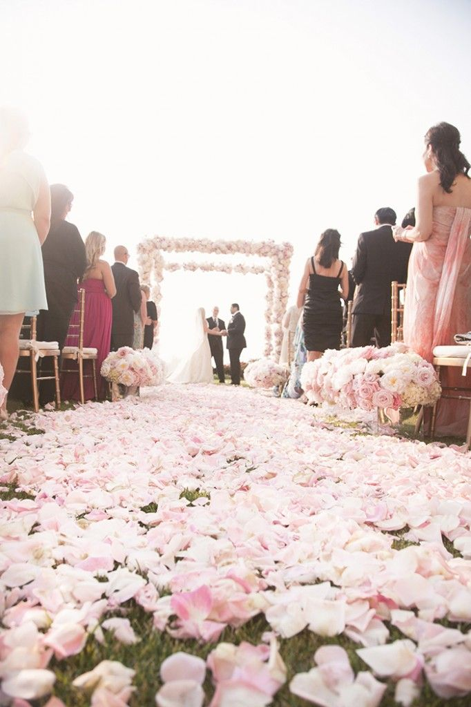 Pretty pink wedding aisle