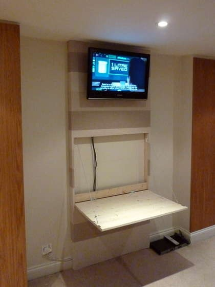 The Tv Wall Mount Desk Amp Hidden Pc With Images Wall