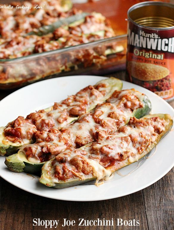 Sloppy Joe Zucchini Boats. A delicious and easy meal that combines ground turkey sloppy joes and zucchini. #ad #ManwichMonday