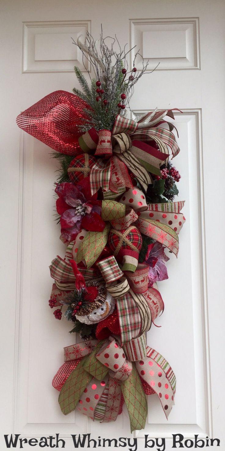 Front door christmas wreaths - Rustic Deer Antler Holiday Evergreen And Deco Mesh Swag Christmas Swag Front Door Wreath Christmas Wreath Antler Wreath