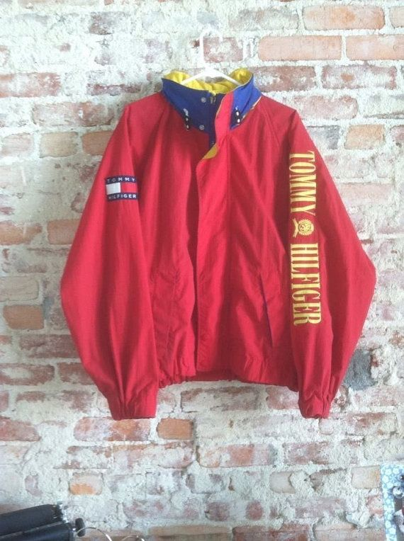 Vintage 90's Tommy Hilfiger Spelled Out Windbreaker Jacket by CharchaicVintage, $49.99