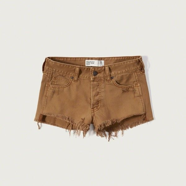 Abercrombie & Fitch Low Rise Two Inch Short (£41) ❤ liked on Polyvore featuring shorts, light brown, jean shorts, cut off shorts, short cut off jean shorts, short jean shorts and cut off denim shorts