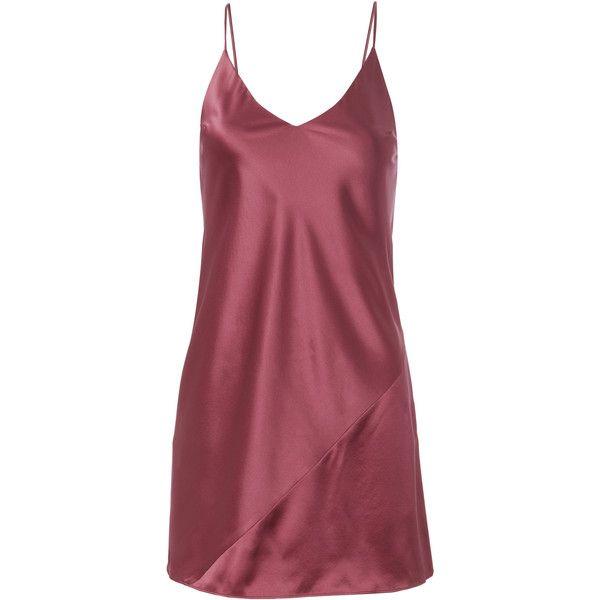 Nectar Mini Slip Dress ($295) ❤ liked on Polyvore featuring dresses, red, red dress, v neck mini dress, bias cut dress, satin slip dress and v neckline dress