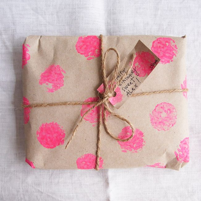 Large DIY polka dots on kraft paper + twine