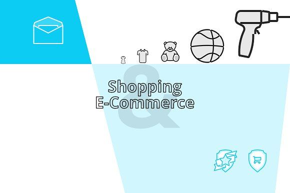 Shopping & E-Commerce (45 icons) by Revicon on @creativemarket