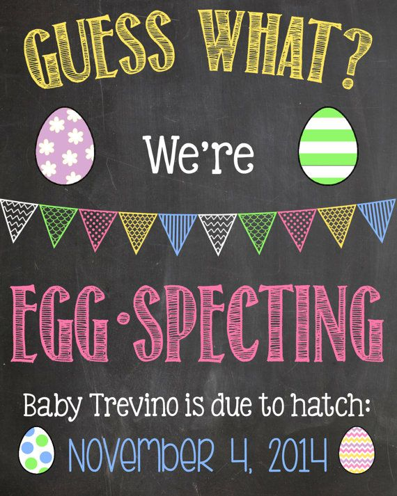 Easter Pregnancy Announcement Chalkboard Poster Printable We're Egg-Specting Pregnancy Reveal Photo Prop