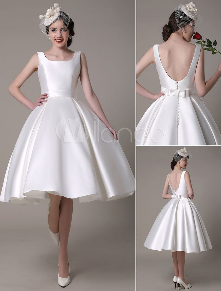 Knee-Length Ivory Bridal Wedding Gown with A-Line Designed Neckline Bows Satin