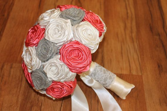 CUSTOM MADE Coral, Ivory, & Light Grey Burlap Bouquet by HeyBouquet - send a message on Etsy for current discounts!