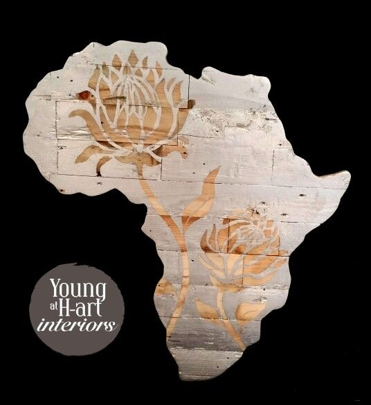 Our Silver Leaf Africa, reclaimed wood, handmade, handpainted by Young at H-art Interiors.