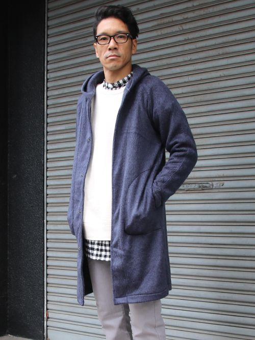 パイルシャギー フードスナップロングコート【MADE IN JAPAN】『日本製』【送料無料】/ Upscape Audience - 【 Audience 】