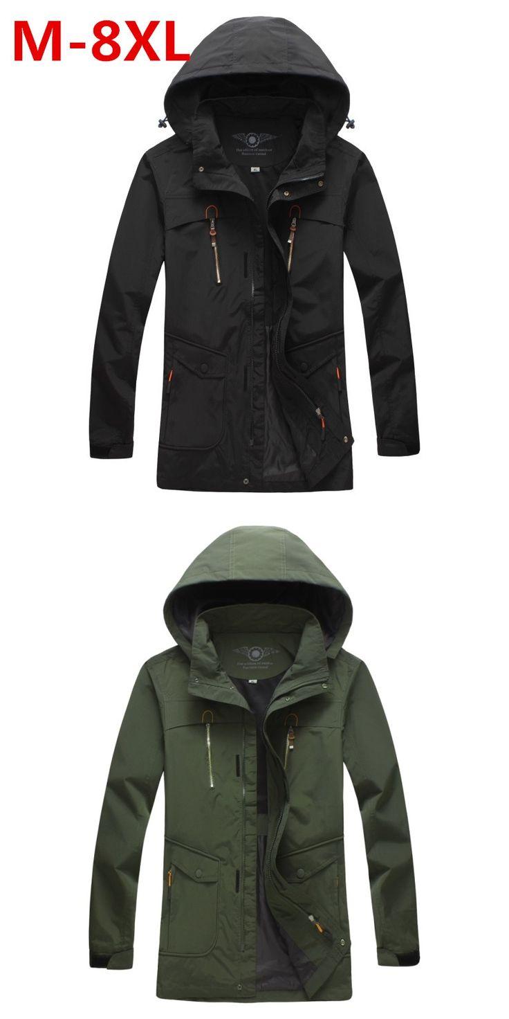 Large size  8XL 7XL 6XL 5XL  men's spring jacket coat High Quality outwear Windbreaker warm Thin cotton-padded jackets men parka