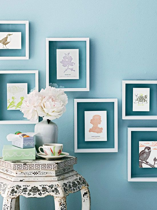 How easy (and pretty) is this #DIY #artwork? Place letterpress note cards in floating frames and arrange on a wall. Your wall color will peek through the glass of the frame too. great look that would be easy to do