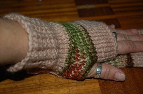 Fingerless gloves, hand knit, striped, unisex, brown beige | daffydill - Accessories on ArtFire http://www.artfire.com/ext/shop/product_view/8262313