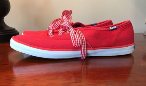 Womens-KEDS-casual-comfort-shoes-size-US-6-5-M-red-canvas-sneakers-Ladies-shoes