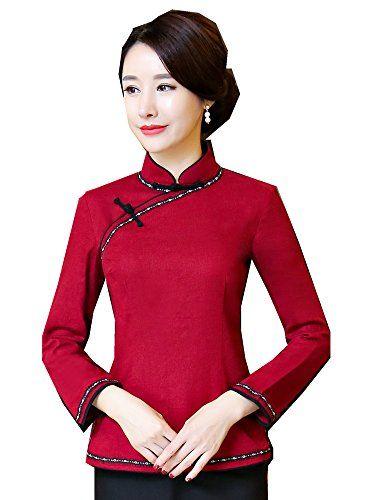3821a8c7db7d1 Shanghai Story ong Sleeve Cheongsam Top Chinese Blouse Qipao Shirt 2XL Wine  Red