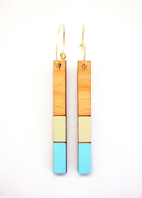 $34Turquoise & Sea Green Slice, Alder Wood Laser Cut Hand Painted Earrings