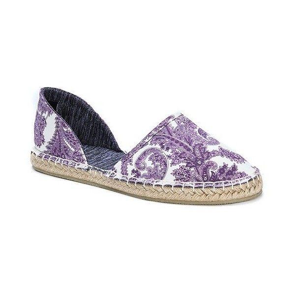 Women's Muk Luks Karina Espadrilles ($40) ❤ liked on Polyvore featuring shoes, purple, slip on flats, purple flat shoes, flat espadrilles, print flats and flat pumps