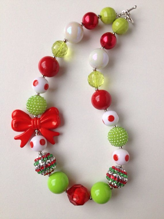 Christmas Chunky Necklace..Chunky Bead by GirlzNGlitter on Etsy