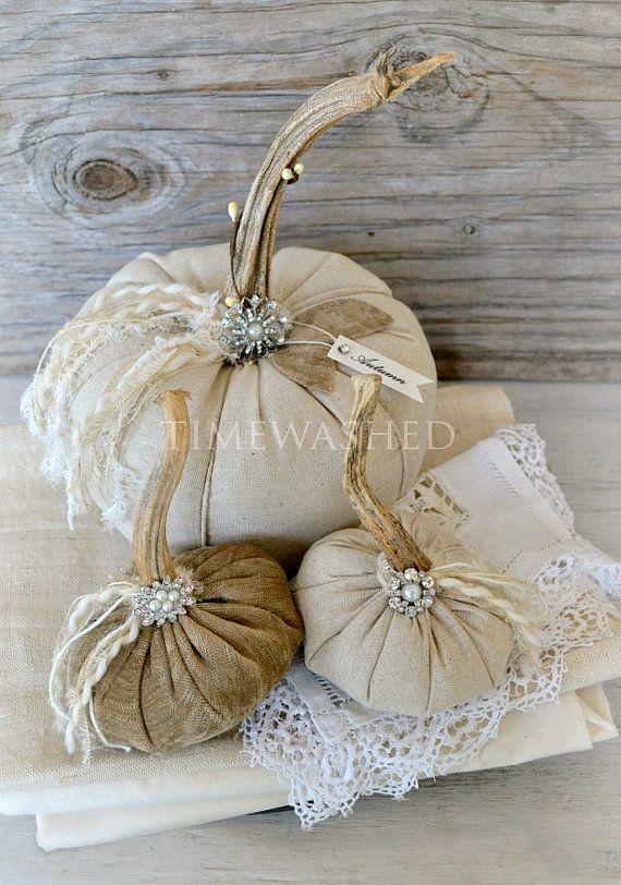 Fabric PumpkinsRustic ElegantOne of a Kind by timewashed on Etsy, $46.00