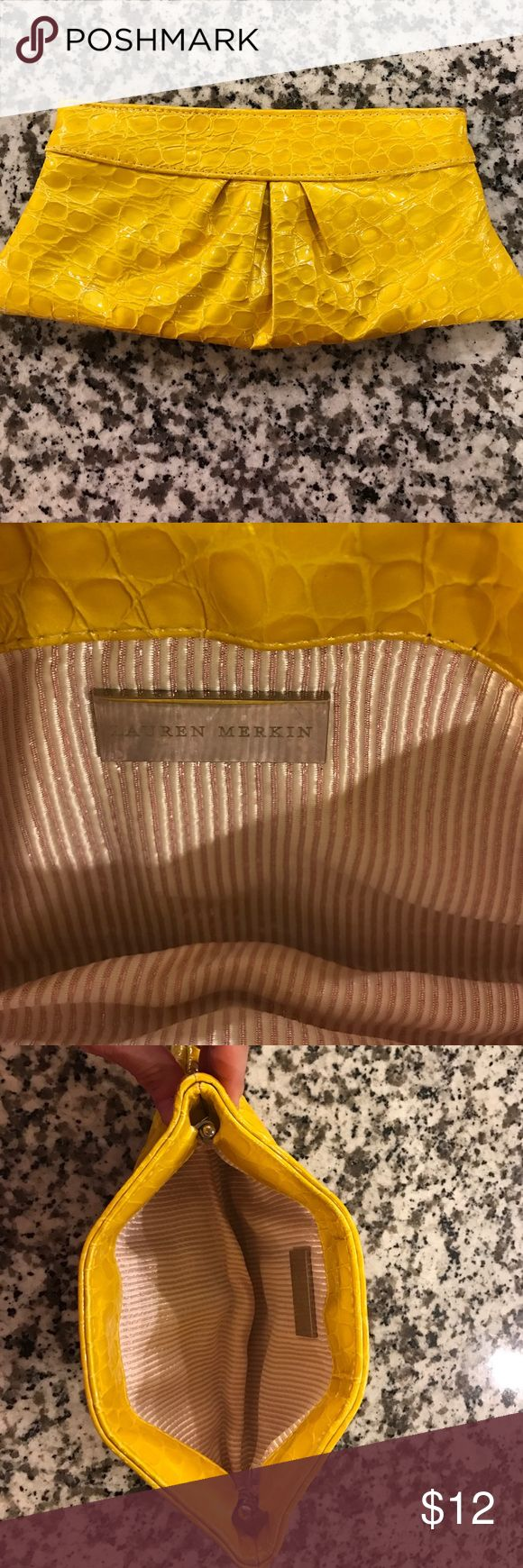 Lauren Merkin yellow clutch Awesome yellow Lauren Merkin clutch. In great condition except a few scuffs on front. See pictures. Smoke and pet free home Lauren Merkin Bags Clutches & Wristlets