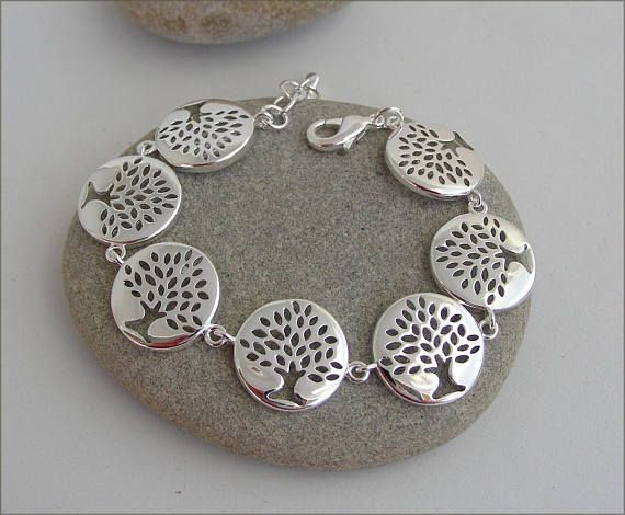 Silver tree woman bracelet bracelet-gourmette médaillons