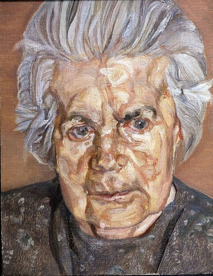 The Painter's Mother (1972) > Freud's relationship with his mother was fraught with tension and difficulties. Yet the portraits that Freud painted of his mother, Lucie, in the 1970s are among his most tender. They form a series that are in the long tradition of artists' portraits of their mothers from Rembrandt to Van Gogh and on to Hockney. They are intensely moving paintings and a sensitive study of old age.