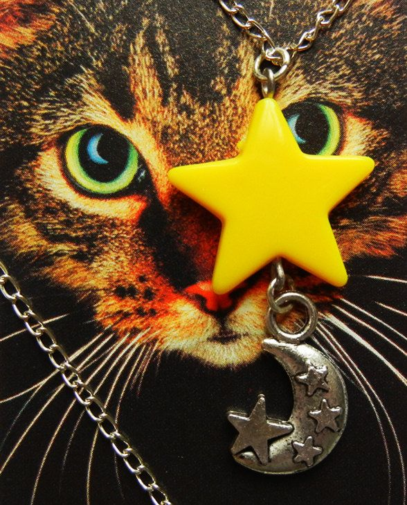 Yellow Star Silver Moon Chain Necklace Screw Lock. Stars in the Night by Foxlicious Design. by FoxliciousDesign on Etsy