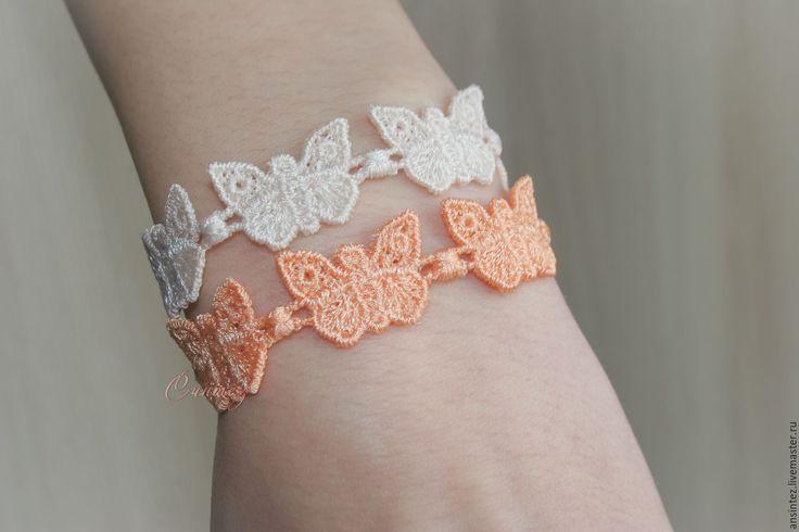 Купить браслеты ажурные вышивка Персиковые Бабочки для Эльфа кружево - бежевый, нежные персиковые бабочки