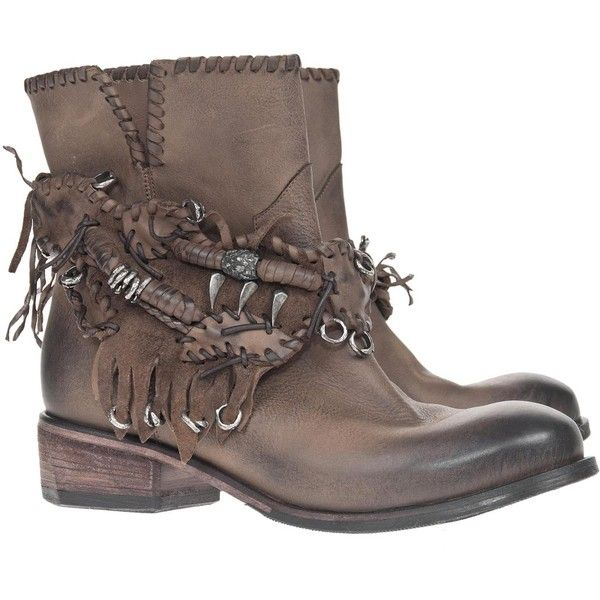 Strategia/JFK Osaka Indian Leather boots with straps ($470) ❤ liked on Polyvore featuring shoes, boots, botas, women, strappy boots, indian shoes, strappy shoes, brown leather boots and woven leather shoes