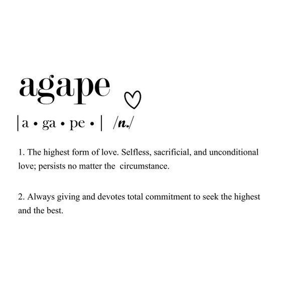 Agape Love Definition Print| Love Definition Print| INSTANT Download| Wall Art | Anniversary Gift |