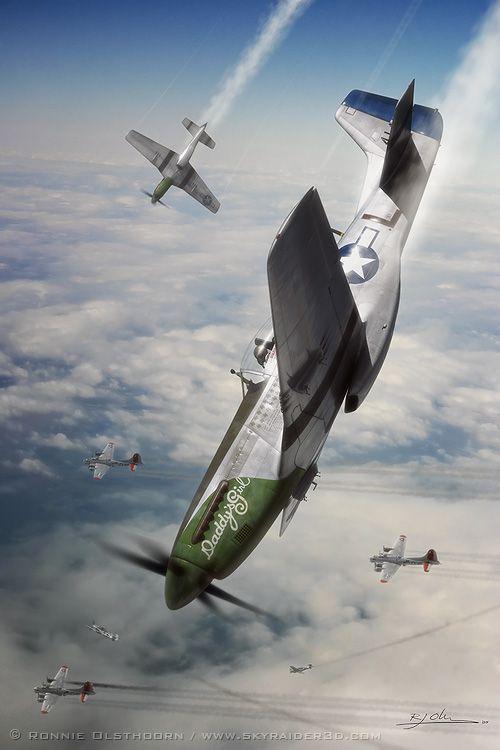 North American P-51 Mustang in picchiata.