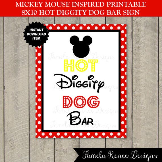 INSTANT DOWNLOAD Mouse Hot Diggity Dog Bar Sign / 5x7 or ...