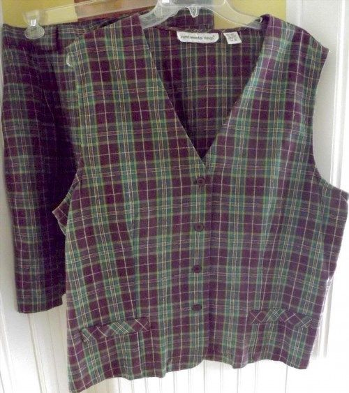 14.84$  Watch here - http://viomb.justgood.pw/vig/item.php?t=fup87718153 - Fundamental Things VEST+SHORTS Outfit~Linen/Cotton~Purple/Green Plaid~18~EUC 14.84$