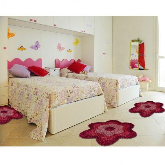 tappeto shaggy daisy fiore rosa linea oro cameretta