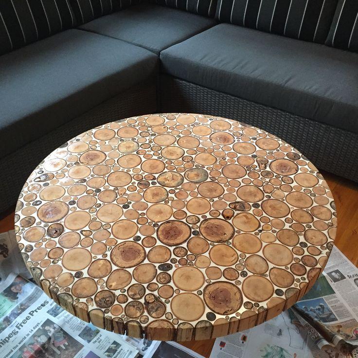 Summer cottage endgrain coffee table. Dyed epoxy and birch firewood. - Album on Imgur