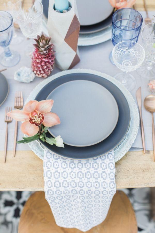 Slate Blue and Peach Place Setting with Modern Prints | Molly & Co. Photography | http://heyweddinglady.com/summer-brunch-wedding-ideas-peach-blue/