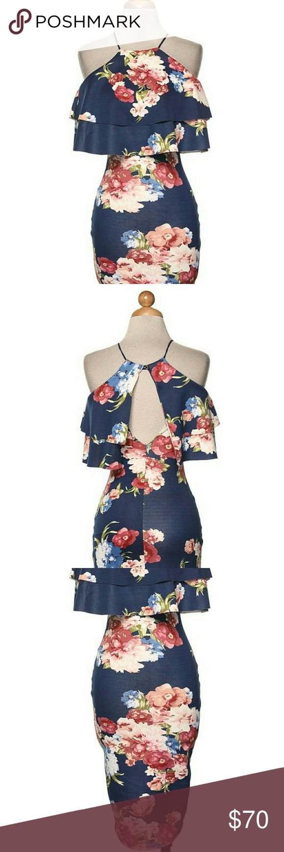 Sexy floral dress Sexy floral bodycon dress with open back Dresses Midi